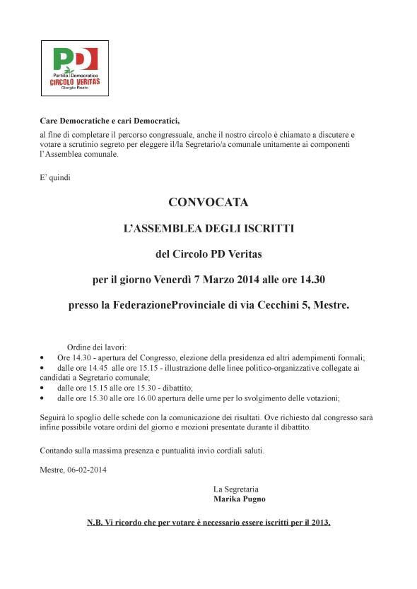 CONGRESSO del Circolo PD Veritas 07 Marzo 2014