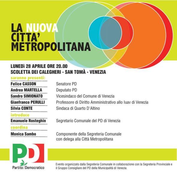 LA CITTA' METROPOLITANA  - lunedì 28 aprile ore 20.00 - VENEZIA